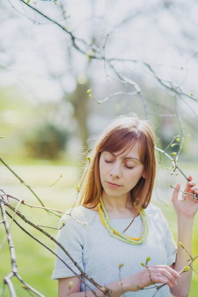 Knitted necklace knit jewellery spring jewelry 100% by Strickzeit