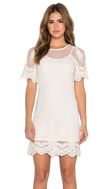 Band of Gypsies Embroidered Mesh Dress in Ivory