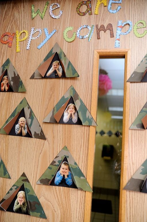 """We are happy campers!"" Decorate your classroom door as a way to welcome your campers to the classroom campout! Image only."
