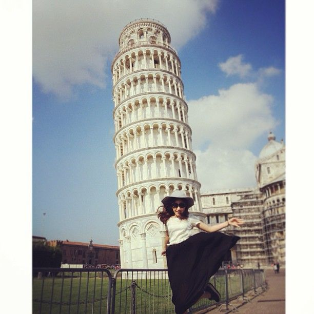Fang N, of #thai Pop group #FFK under the Leaning Tower of #Pisa