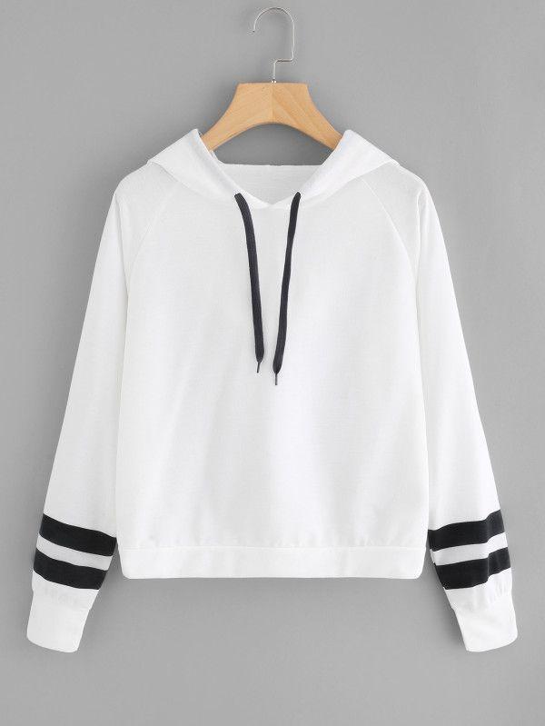 8f7de54e40 Varsity Striped Raglan Sleeve Hoodie -SheIn(Sheinside) Boho fashion ...