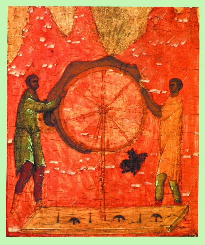 Начало XVI в.  Георгий с житием.  Клеймо.  Колесование святого