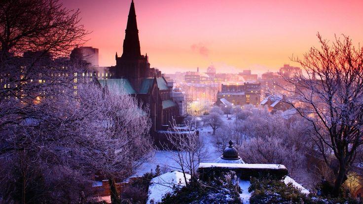 hd hintergrundbilder nacht himmel bäume winter stadt 1920x1080