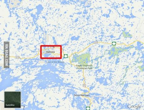 """I live in Kenora, Ontario, Canada (red square). Had a tourist ask once, """"Is there a lake close by?"""""""
