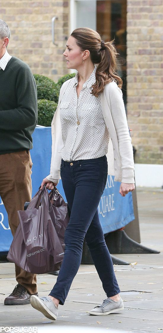 Exclusive: Kate Middleton Bargain Shops in Sneakers!: Kate Middleton walked with a friend through London. : Kate Middleton stopped by Zara Home in London.