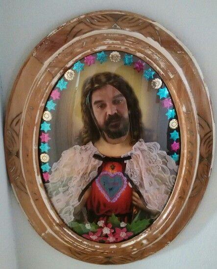 San Yo. Espejo decorado. 48X62cm. (Santo Aurelio)