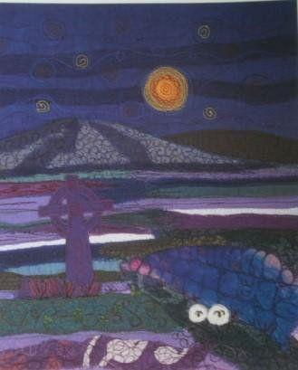 Celtic Landscape Textile Art  Print