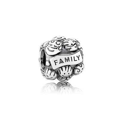 "Love & Family - Silver charm with writing ""Family"" #pandora #pandorajewelry #hudson_poole_jewelers"