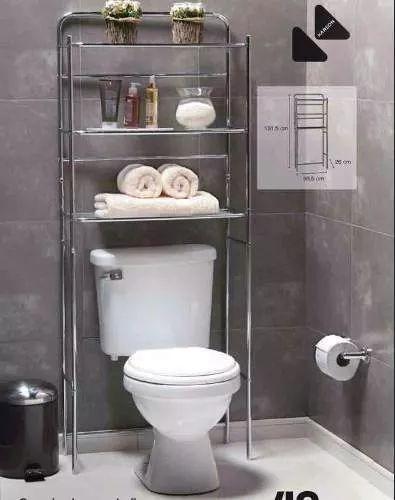 mueble organizador de baño 3 niveles acero sobre inodoro