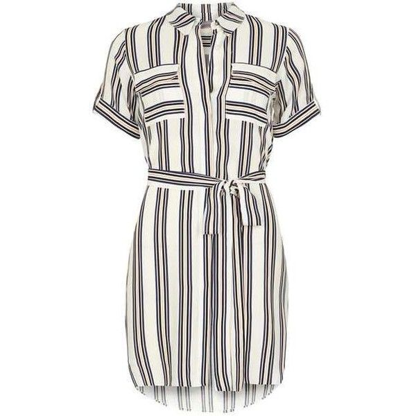 Petite Coral Stripe Shirtdress ($57) ❤ liked on Polyvore featuring dresses, white striped dress, shirt dresses, white dress, petite dresses and coral striped dress