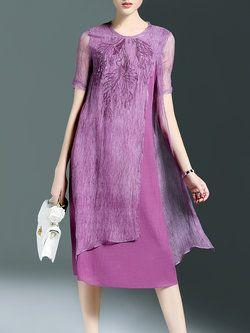 Purple Shift Casual Midi Dress