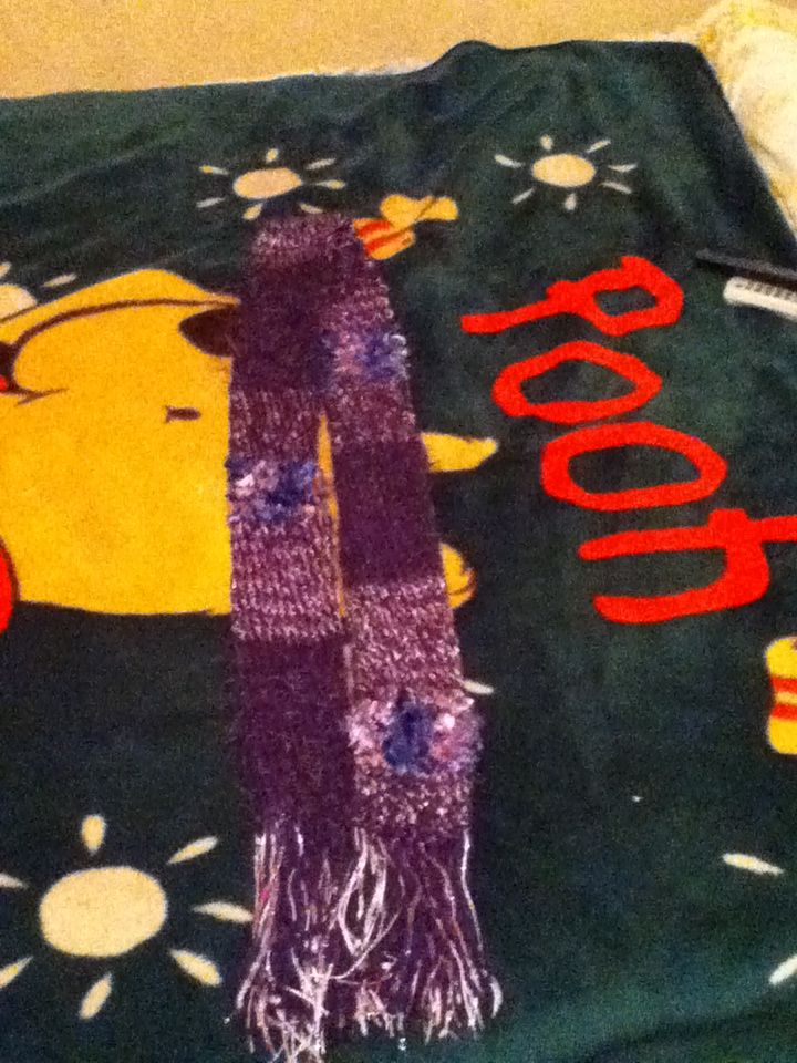 purple scarf - loom knit