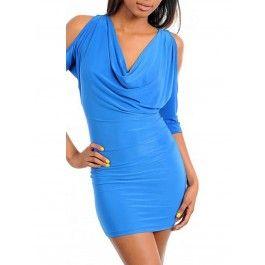 Vestidos Corto Azul con Mangas Abiertas MU355