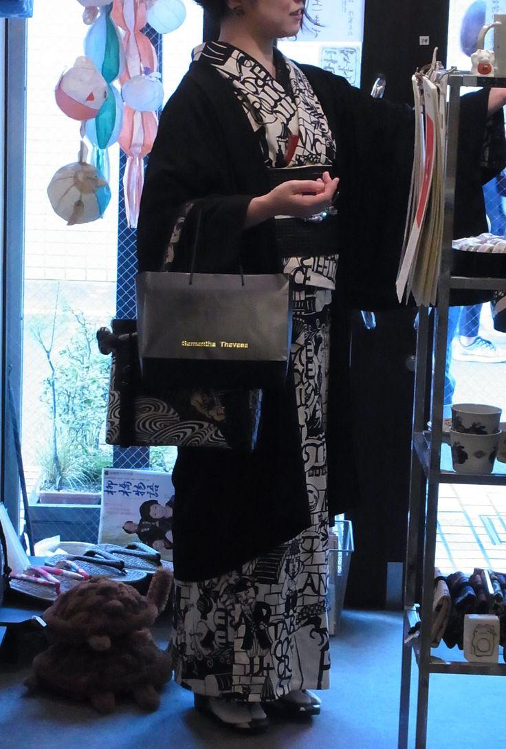鴨川志野文明開化黒の浴衣。黒がお似合いのお客様。映えます。