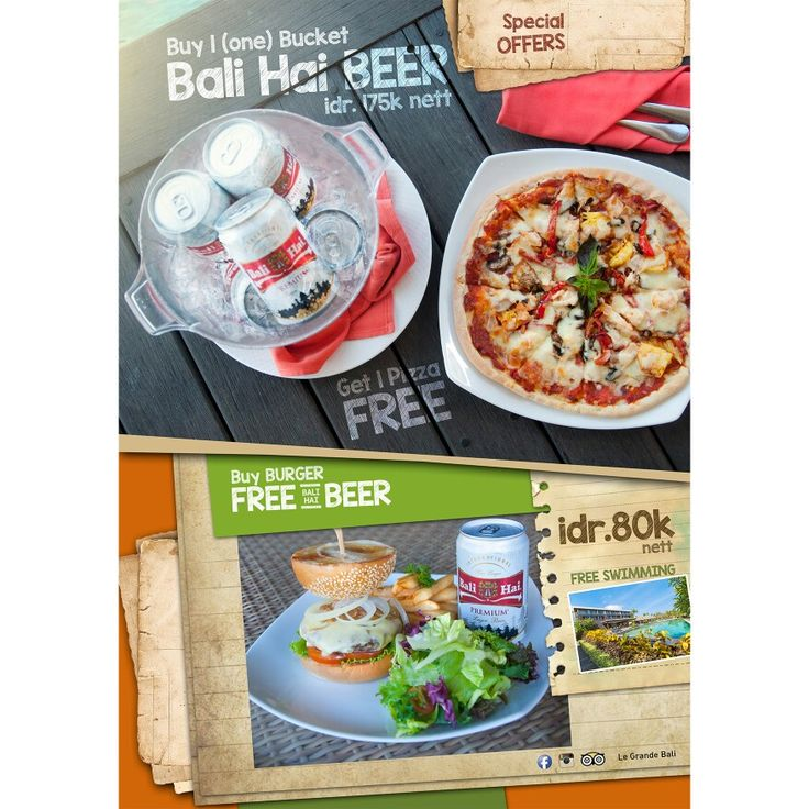 Beer free pizza or burger free beer at Le Grande Bali #burger #free #beer #swimming #beer #pizza #legrandebali #balihai