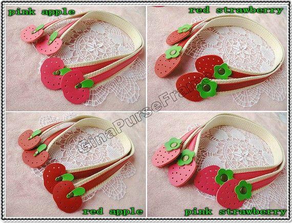 1pair-Strawberry / Apple Leather handles purse by GinaPurseFrame