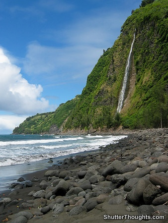 Waipio Valley Beach @ 2,000 foot high cliffs and black sand. (Yes, we did hike this & I was 4 weeks pregnant!)