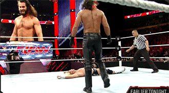 Randy tiptoeing to an RKO gif