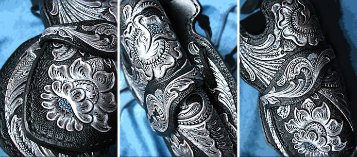 Tooled ranger gun belt, revolver holster CZ 75, magazine pouch leather 3_M_r Sheridan floral
