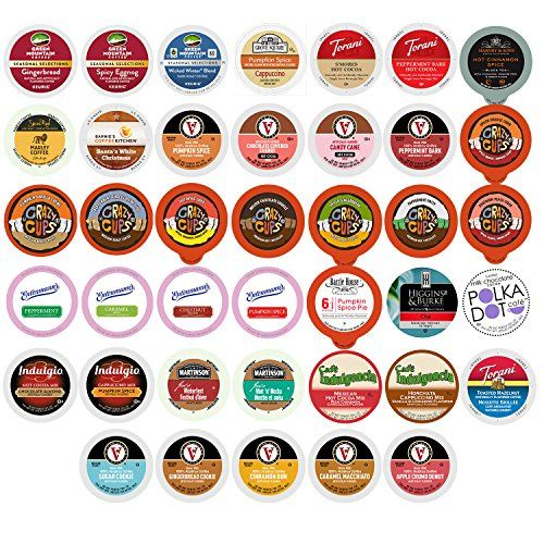 Winter and Seasonal Flavored Coffee, Tea, Hot Cocoa and Cider, Single Serve Cups for Keurig K cup Brewers (40 Count) * Click on the image for additional details.