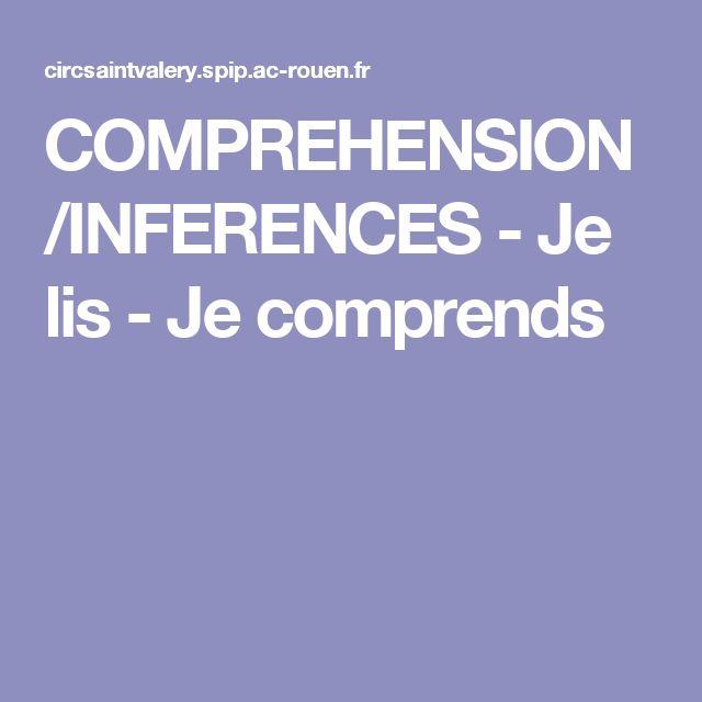 COMPREHENSION/INFERENCES - Je lis - Je comprends