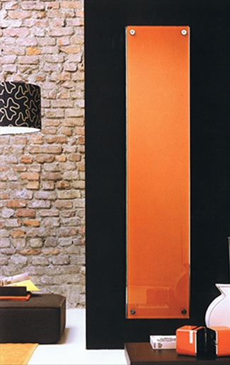 This orange vertical radiator looks sleek and very stylish!