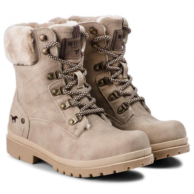 Trapery Mustang 43c089 Bezowy Shoes Army Boot Combat Boots