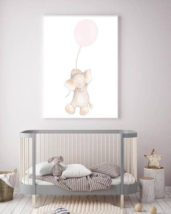 Enfant de ballon rose fille éléphant Art, décor d'éléphant fille rose, fille rose mur …   – Products