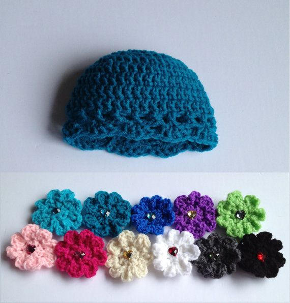 $11 - Baby girl infant teal crochet beanie hat with your choice of colored crochet flower (11 colors to choose from), size newborn 0-3 months, 3-6 months or 6-12 months. A perfect baby shower gift or for your own little one!