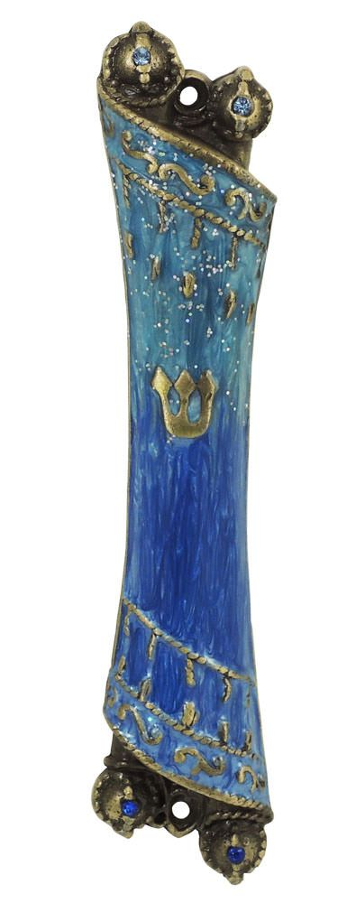 Blue Torah Scroll Mezuzah