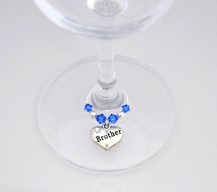 Brother Wine Glass Charm - Swarovski Crystal - Brother Birthday Gift - Brother Birthday Present - Brother Birthday Party - Brother Gift by PeriwinkleBeadDesign on Etsy