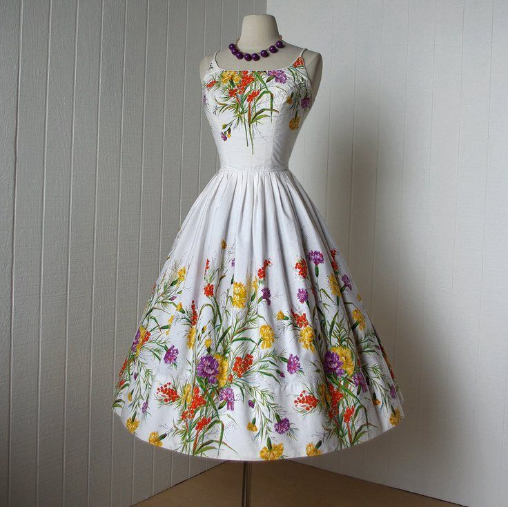 1950's Cover Girl of Miami white cotton floral pin-up dress