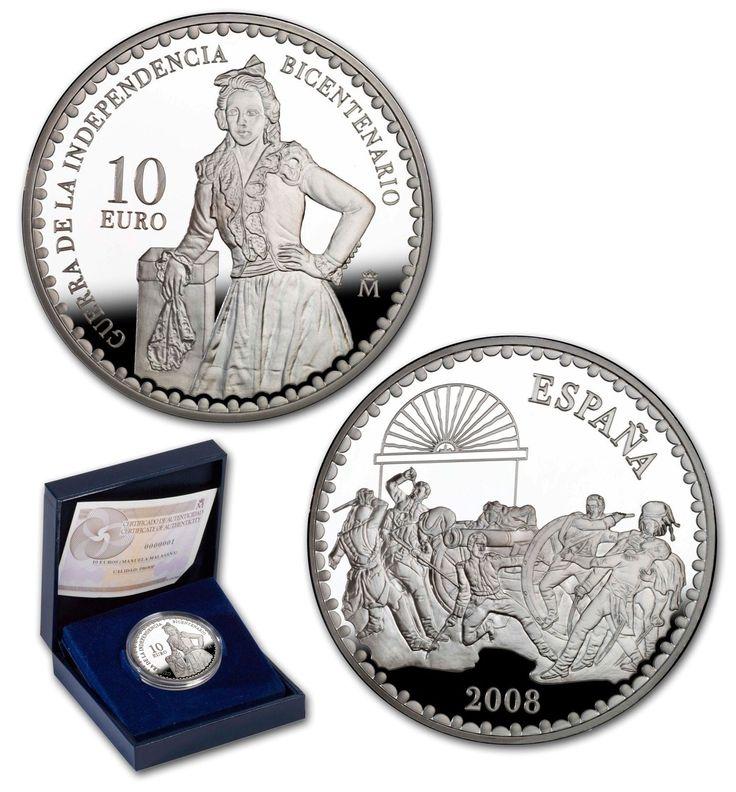 ESPAÑA 10 euro plata 2008 Bicentenario Guerra Independencia MANUELA MALASAÑA.
