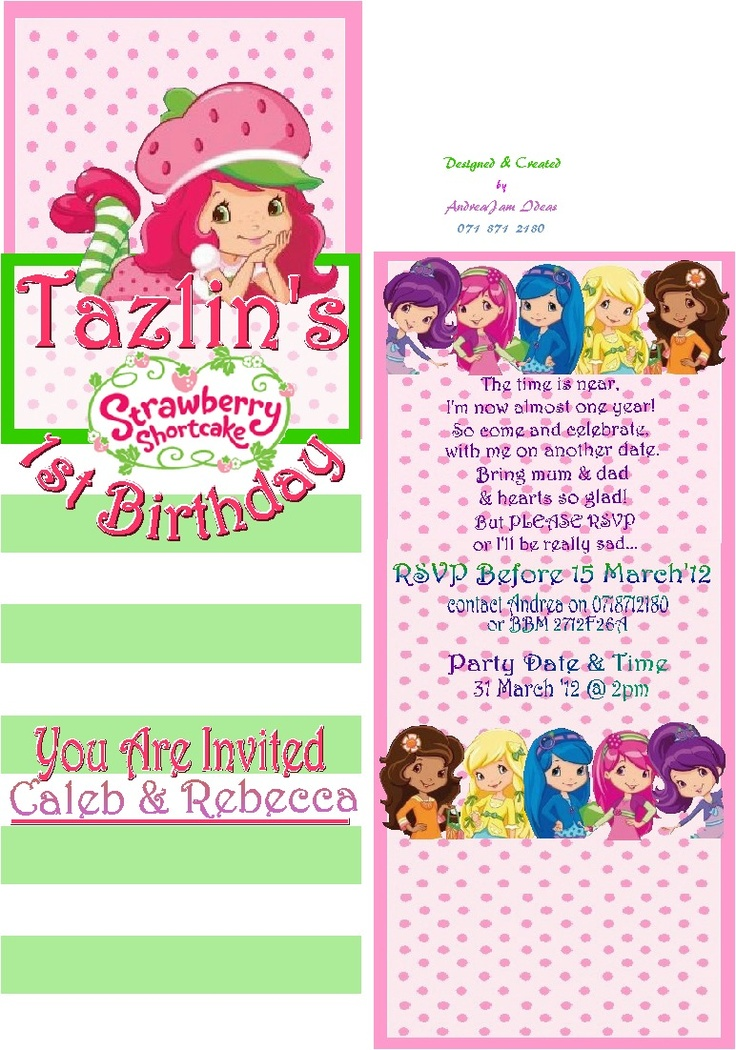 Fold Open Invite, designed and printed by myself  StrawberryShortcake