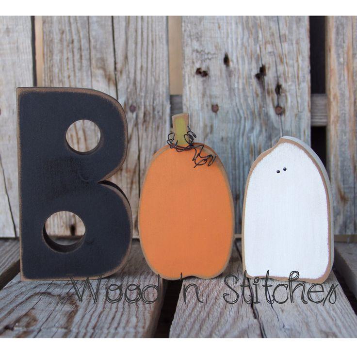 Boo Halloween ghost pumpkin wood block set seasonal home decor holiday sign fall autumn by jodyaleavitt on Etsy