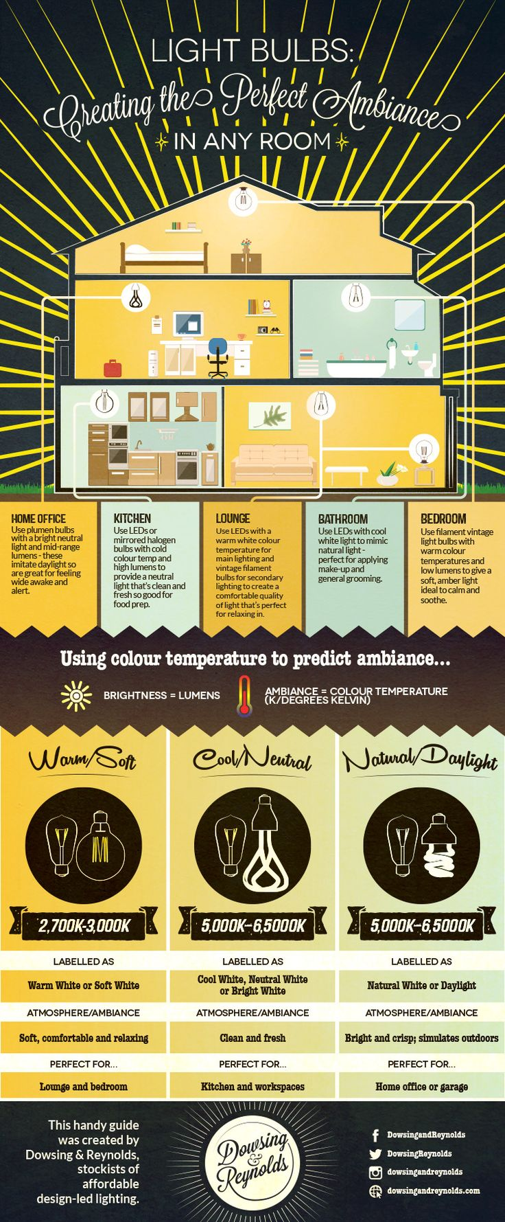 Light Bulbs: Creating the Perfect Ambiance in Any Room Infographic from Dowsing & Reynolds