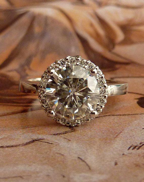 love!Round Moissanite, Diamonds Gallery, 14K White, Halo Rings, Diamonds Halo, Rings 14K, White Gold, Vintage Style, Engagement Rings