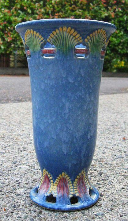 "Roseville Pottery - ""Blue Ferella"" - wow, haven't seen this pattern in blue - on my wish list"