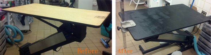-Repinned-Resurfacing a dog grooming table.  Sand table, wash down and coat with truck bed liner paint. When dry sand table to get sharper bumps out. So simple!
