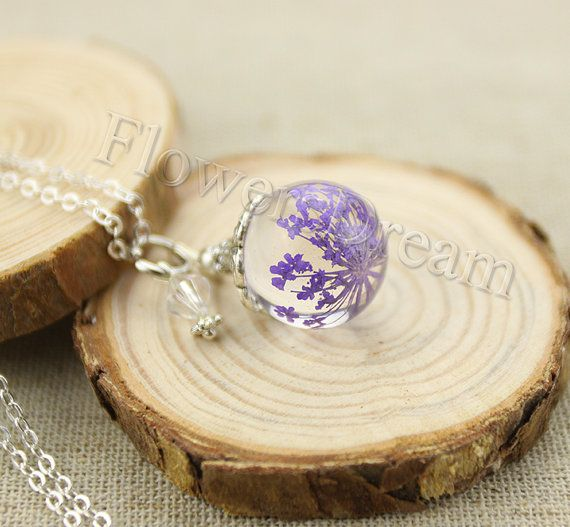 Resin Pendant Necklace, Real flowers encased in resin orb, Pressed Flower Jewelry, Purple Queen Anne's Lace Pendant, Real Flowers--F008