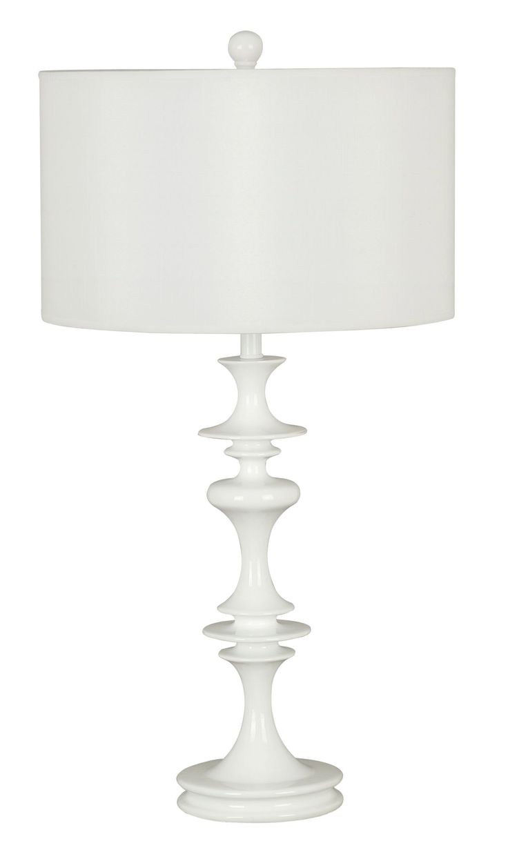 Claiborne Table Lamp - An exaggerated turn profile and the Glossy White finish of Claiborne add a modern touch to this classic French Country motif. A timeless crisp White drum shade makes this lamp grouping versatile and always on trend.Decor, Lights, Table Lamps, Colette Tables, Design Crafts, White Gloss, Claiborne Tables, Living Room, Tables Lamps