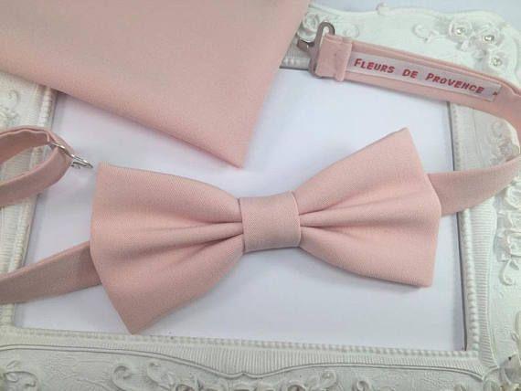 SET Noeud Papillon et Pochette costume assortie Vieux Rose