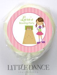 Girls Ten Pin Bowling Party Favours Personalised Lollipops.