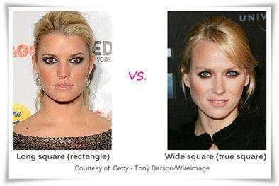 Jessica Simpson has a Rectangle Face Shape, Naomi Watts has a Square-Round Face Shape