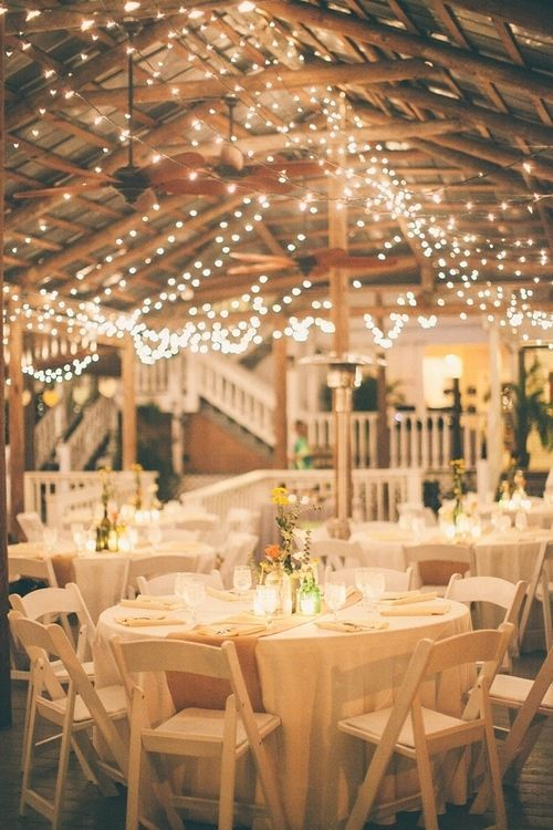 country wedding reception ideas- Burlap for the table runners and Xmas lights all over the pavilion - Deer Pearl Flowers