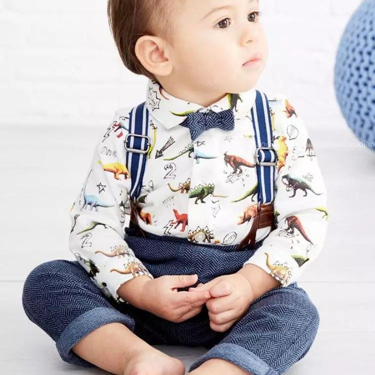 Baby Boys Gentleman Dinosaur Shirt+Suspender Pants Outfit Set