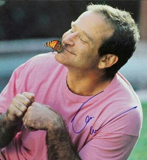 Robin Williams. This is so lovely. Find something to smile about everyday. He was a great actor and a human at the end of the day...with a troubled soul. One never knows the struggle of others, until they open their heart to you. Some can be helped and others taken by the dark side. RIP RW!