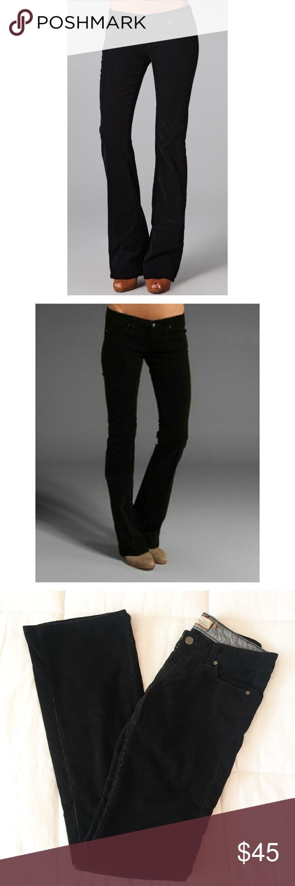 Paige Premium Denim Black Corduroy Flare Bottom Cutest trendy look right now. Flare leg, corduroy feel. Black. Cute back pocket design. Lightly worn, in excellent condition. Size 26 Paige Jeans Pants Boot Cut & Flare