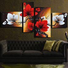4 adet el boyalı tuval yağlıboya kırmızı flowe duvar boyama soyut manzara duvar dekor tuval üzerine yağlıboya( çerçeveli)(China (Mainland))
