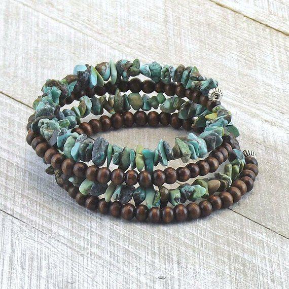 Turquoise Bracelet For Women Green Turquoise Chip Memory Wire Etsy Gemstone Chips Bracelet Memory Wire Bracelets Wood Bracelet
